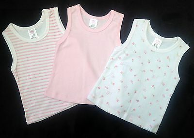 NEW 3 x Baby Girl Pink Themed Singlet Tops - Sizes 000