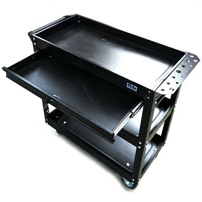 Steel Tool Trolley Lockable Drawer 3 Tier, Mechanic Workshop Handyman Draw Cart