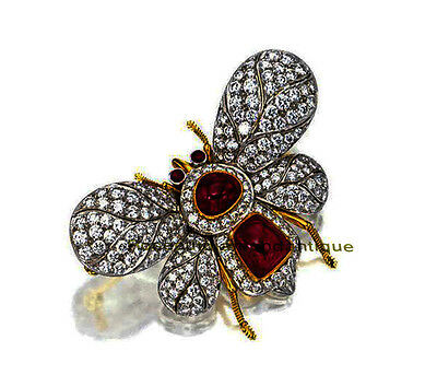 HAND-MADE 925 SILVER ANTIQUE ROSE CUT DIAMOND 3.82ct RUBY BUTTERFLY STYLE BROACH