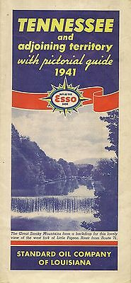 1941 ESSO STANDARD OIL Road Map TENNESSEE Nashville Memphis Smoky Mountains