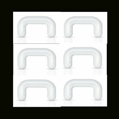 """6 Pc 16g 1/4"""" (6mm) Length Clear Acrylic Septum Piercing Septum Retainers"""