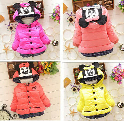 Baby Kids Toddler Girls Cartoon Winter Hooded Hoodie Coat Jacket Jumper Outwear