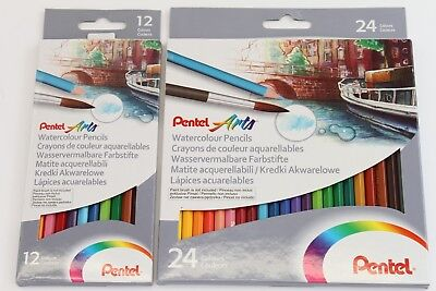 Pentel 'Arts' Professional 12 Or 24 Watercolour Pencils. Vibrant Pigment Colours