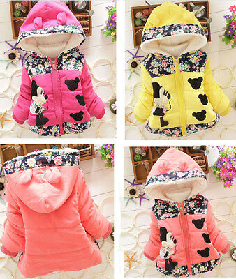 Baby Girls Kids Toddler Cartoon Winter Hooded Hoodies Coat Jacket Outwear Jumper