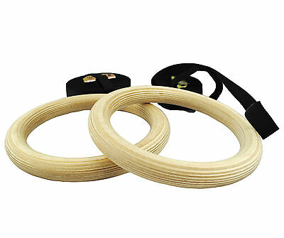 UK Warrior Gymnastic Rings Strength Training Adjustable Pair Cross Fit Olympic