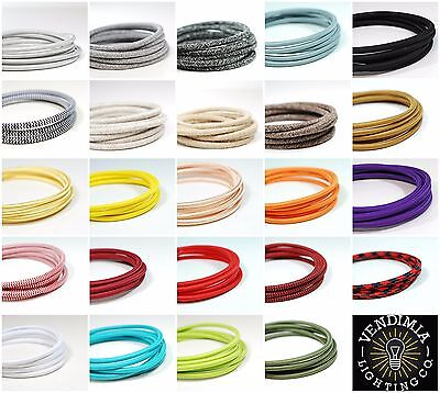 Italian Coloured braided lighting 3 core fabric cable flex cord | Vintage Retro