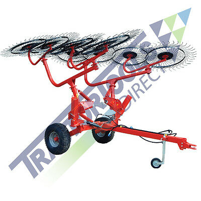 NEW: Tractor Tools 8 Wheel Trailed V-Rake 20' Working Width Flat Rate Shipping
