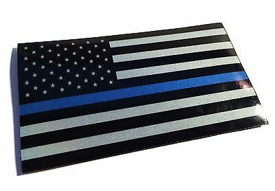 Reflective 3.5x2 Patch Police Officer support Thin Blue Line flag US made
