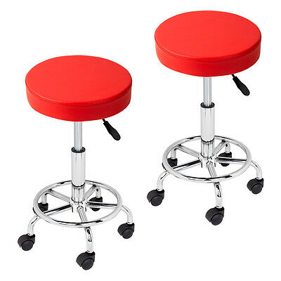 2x Red Adjustable Tattoo Salon Stool Rolling Swivel Chair Facial Beauty Massage