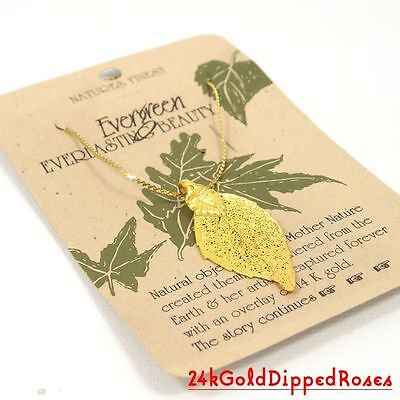 Four 14k Gold Dipped Evergreen Leaf Pendants (Free Anniversary Gift Box)