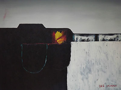 black white red minimal abstract hand painted oil painting original contemporary