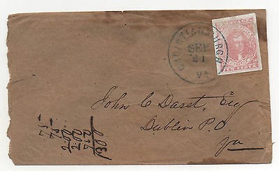 CSA Confederate States Scott #5 XF Stamp on Cover Christiansburgh VA Blue CDS