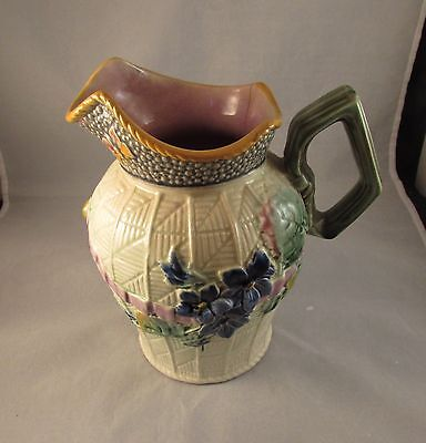 Antique majolica floral pitcher signed butterflies 19th