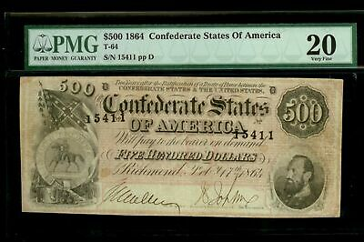 1864 Confederate States $500 Stonewall Jackson Note Pmg Very Fine 20  T-64