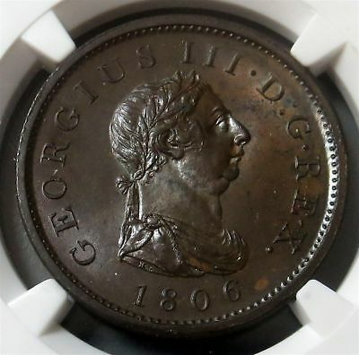 1806 Soho Great Britain Penny Ngc Mint State 63 Brown George Iii