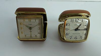 Vintage Lot Of 2 Travel Alarm Clocks Westclox  & Florn Made In Japan & Germany