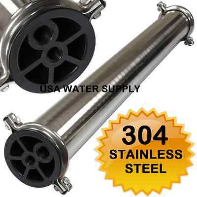304 Stainless Steel Membrane Housing 4 x 40 RO Filtration 3/4""