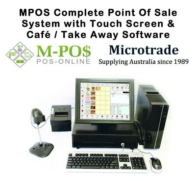 "Point of Sale System with MPOS Cafe / Take Away Software. 15"" Touch Screen."