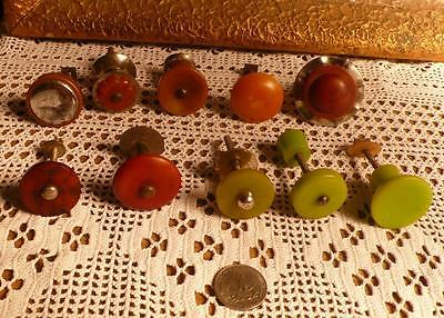 10 Assorted art deco TESTED bakelite metal Pull handles knobs 190 grams (s12355)