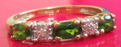 SECONDHAND QVC 9ct GOLD GREEN DIOPSIDE AND DIAMOND RING SIZE O