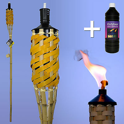 Multi Pack 5Ft Bamboo Torches Garden Parties Outdoor Events Lanterns & Lamp Oil