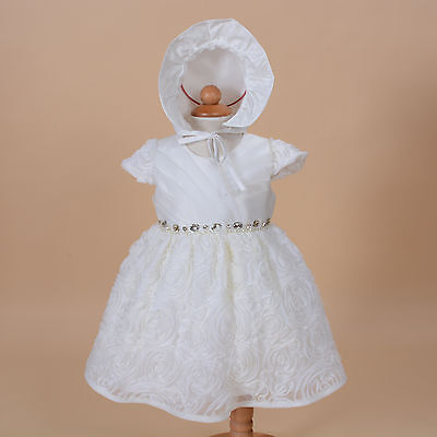New Baby Christening Party Dress with Bonnet Hot Pink Ivory 0 3 6 12 18 24 Month