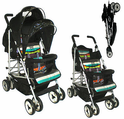 Duo Double Tandem Twin pushchair stroller birth-3 years Kids Kargo umbrella fold
