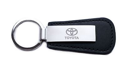 Genuine Toyota Leather Keyring Key Ring Engraved Logo Silver Metal Plate
