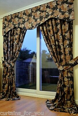 Very Thick Luxury Curtains Amazing Floral Pattern Italian Fabric Black For You