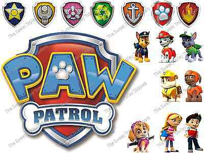 Paw Patrol Edible Rice/Wafer Paper Cupcake Birthday Cake Toppers & PERSONALISED