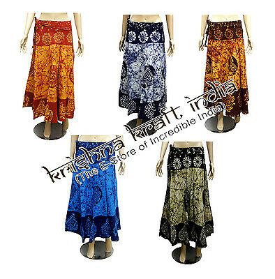 25pc Indian Traditional Cotton Wrap Around Long Skirt Batik Dress Wholesale Lot
