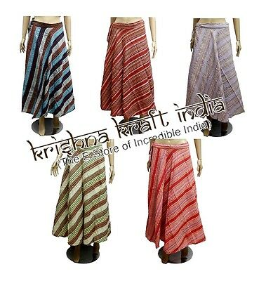 25 Striped Design Cotton USA Hippie Gypsy Long Wrap Around Skirts Wholesale Lot