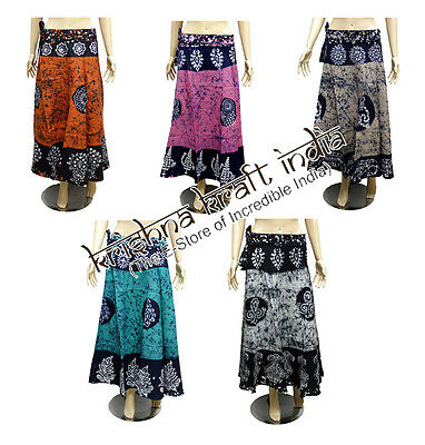 25 Indian Cotton Batik Print USA Gypsy Long Wrap Around Skirts Wholesale Lot