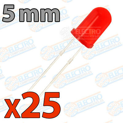 25x LED 5mm ROJO DIFUSO 20mA diodo diffuse diode red