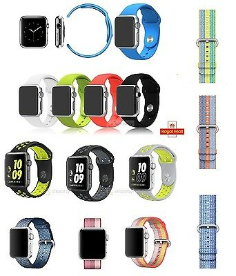 Replacement Nylon Sports Silicone Strap For Apple Watch Band 38/42mm Series 2/1