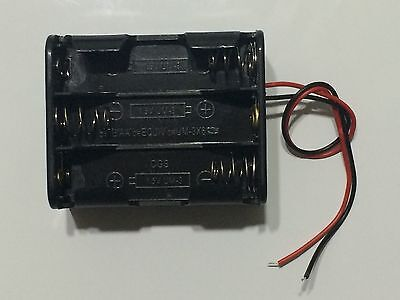 """Lot 10 Pcs New 3AA 2A Battery 4.5V Clip Holder Box Case with 6"""" Leads Black"""