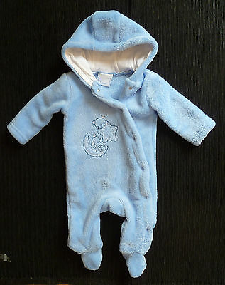 Baby clothes BOY 0-3m blue soft fleecy Rock-a-Bye Baby pramsuit hood SEE SHOP!