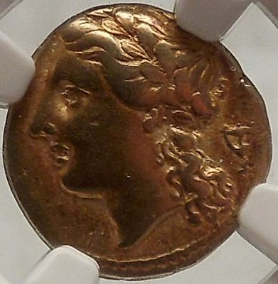 SICILY SYRACUSE 317BC Apollo Authentic Ancient Greek Gold Coin Certified NGC VF