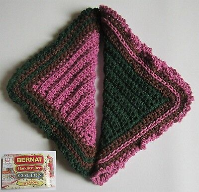 2 Chocolate Green & Orchid 100% Cotton Hostess Dishcloths in Reverse Colors