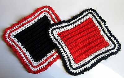 2 Red White and Navy Blue 100% Cotton Hostess Dishcloths in Reverse Colors