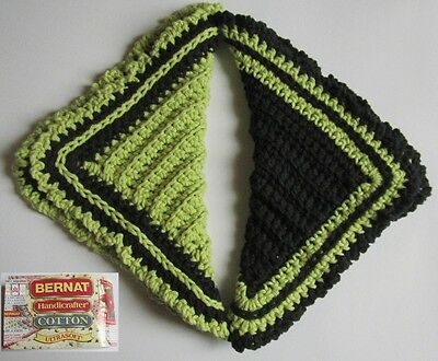 Pair of Black and Lime Green Hostess 100% Cotton Dishcloths in Reverse Colors