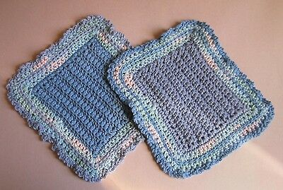 Pair of Lavender and Blue 100% Cotton Hostess Dishcloths in Reverse Colors