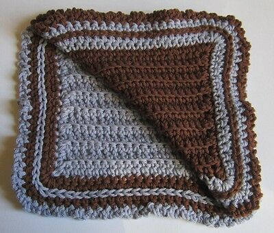 Pair of Lavender and Brown 100% Cotton Hostess Dishcloths in Reverse Colors