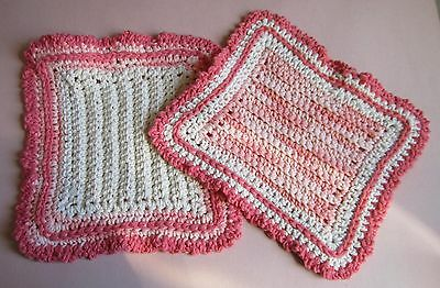 Pair of Peach Coral & Cream 100% Cotton Hostess Dishcloths in Reverse Colors