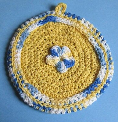 Sunny Yellow and Variegated Blue Potholder in 100% Cotton