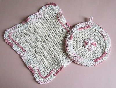 Hostess Matching Pink and Cream Dishcloth and Potholder in 100% Cotton