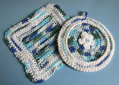 Hostess Matching Blue and White Dishcloth and Potholder in 100% Cotton