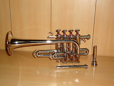 **Bb/A FLAT PICCOLO TRUMPET **BRAND NEW SILVER  WITH FREE HARD CASE+MOUTHPIECE