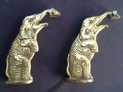 Vintage Pre-loved Brass Elephant Door Knockers x 2 - 8cm tall - Made in England
