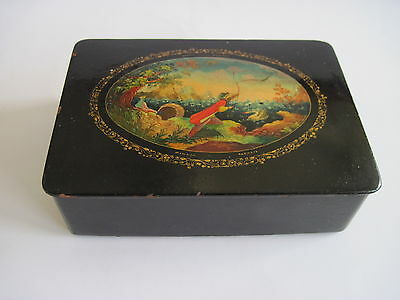 "Old Vintage Russian Mstera  lacquer box "" TZAR SULTAN"". mid century"
